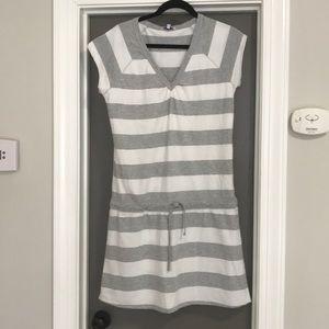 GAP white and gray stripe dress. Very soft!